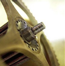 The worn pinion from the going side