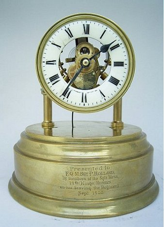 Front view of Eureka clock with dome removed